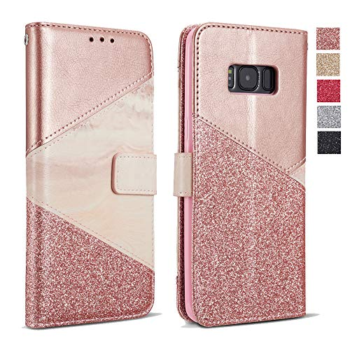 ZCDAYE Bling Glitter [Magnetic Closure] PU Leather [Ceramic Pattern] Flip Wallet Stand Folio Inner Soft TPU Stand Case Cover for Samsung Galaxy S9 Plus 6.2 inch - Rose Gold