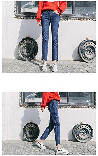 Pantalon Rtro Taille Denim Straight Ample Boyfriend Vintage Loose Bleu Femme Style Bootcut Large Pants Runyue Haute 8xwtHE6X