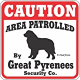 "Dog Yard Sign ""Caution Area Patrolled By Great Pyrenees Security Company"""