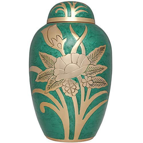Liliane Memorials Green and Gold Flower Funeral Urn Cremation Urn for Human Ashes - Brass- Suitable for Cemetery Burial or Niche- Large Size for Adults up to 200 lbs - Green Rose -