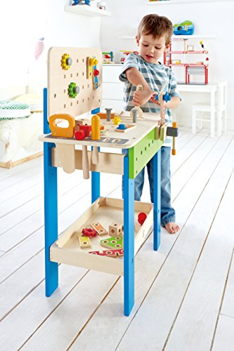519pXaEYX7L - Hape Master Workbench by Award Winning Kid's Wooden Tool Bench Toy Pretend Play Creative Building Set, Height Adjustable 32 Piece Workshop for Toddlers