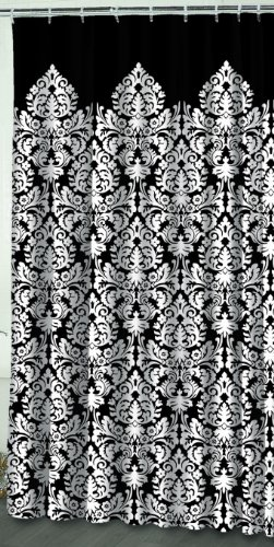 Waverly by Famous Home Fashions Essence Black 100-Percent Polyester Shower Curtain