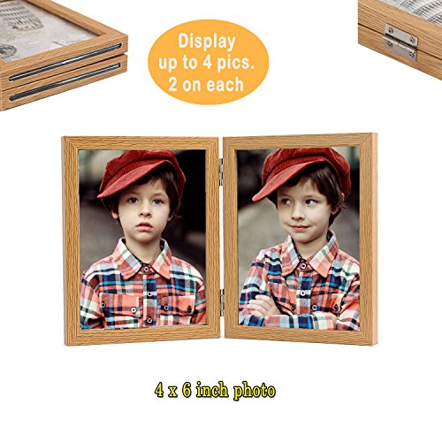 Giftmon Brown 4x6/5x7/6x8 Size Double Photo Frame, Glass Pane, 4 Maximum Display For 4x6/5x7 Size, Convenient Insertion, Family, Babies, Children, Couples, Friends, Vertical Hinged Picture Frame - Glass Son Photo Frame