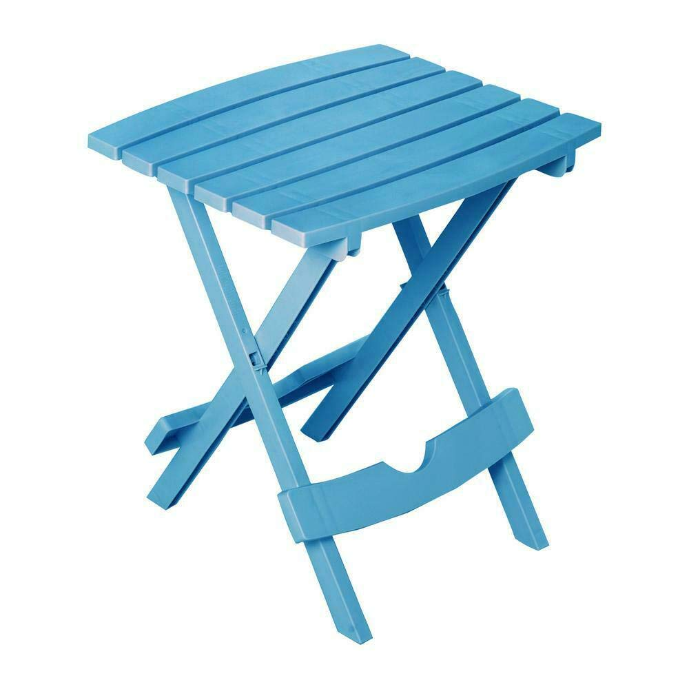 Lovely999 Fold Outdoor Side Table Pool Blue Resin Folding Waterproof Patio Furniture Material Resin by Lovely999