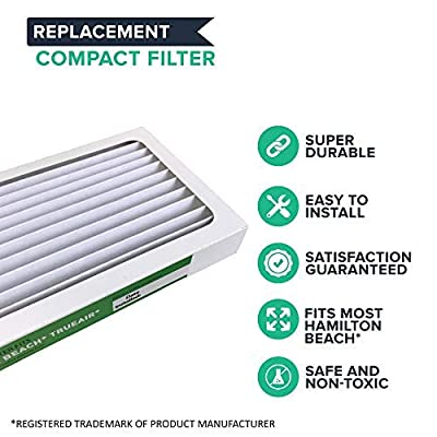 Crucial Air Filter Replacement Parts Compatible with Hamilton Beach True Air Part#990051000 - Fits Vacuum Models 04383, 04384, 04385 - HEPA Style Filters Capture Mites, Pollen, Household Dust