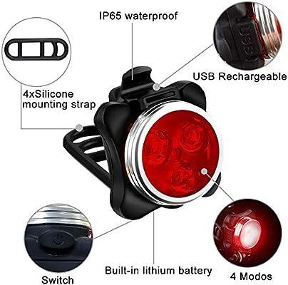 AMANKA LED Luz Delantera y Trasera Bicicleta, Luces Bicicleta Recargable LED Luz para Bicicleta por USB Conjunto para Bicicleta 4 Modo 650mAh Reflector Bici Seguridad Faro de Señal: Amazon.es: Deportes y aire