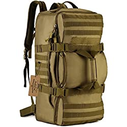 ArcEnCiel Outdoor Tactical Army Backpack Military Waterproof Camouflage Suitcase Hunting Mountain Sports Luggage Hiking Camping Bag -Rain Cover Included (Coyote Brown)