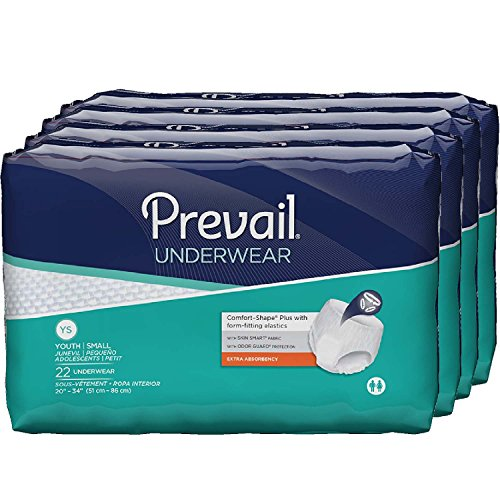 Prevail Extra Absorbency Incontinence Underwear, Youth/Small Adult, 22-Count (Pack of 4) Prevail Protective Adult Underwear