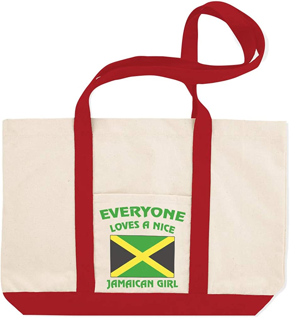 Canvas Shopping Tote Bag Everyone Loves A Nice Jamaican Girl Countries Girl Beach Bags for Women