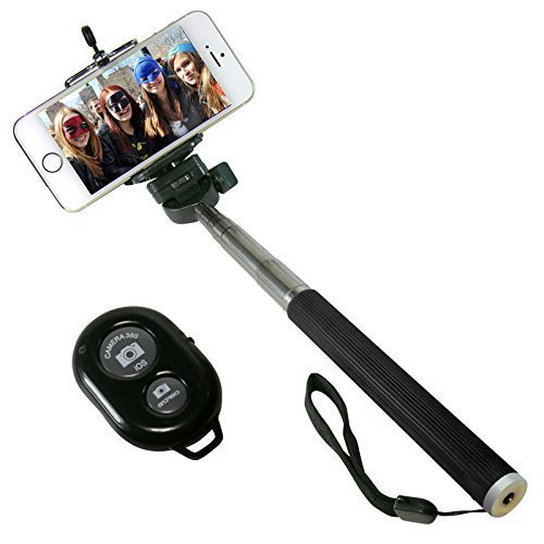 I Kool Selfie Stick  Quicksnap Pro 3 In 1 Self Portrait Monopod Extendable Wireless Bluetooth Selfie Stick With Built In Bluetooth Remote Shutter With Adjustable Phone Holder For Iphone 6  Iphone 6 Plus  Iphone 5 5S 5C  Android And Motorrola  Black