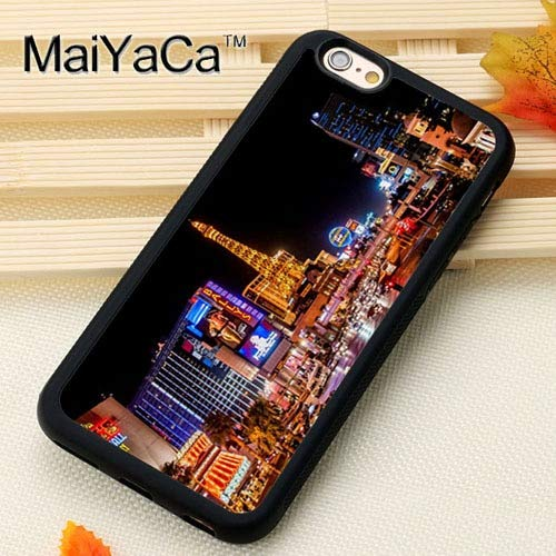 MISC Black Las Vegas iPhone X Case The Strip at Night XS Cover Downtown Nightime Life Lights Real Photo Image Picture Lit Up Casino Gamble Gambling, Plastic