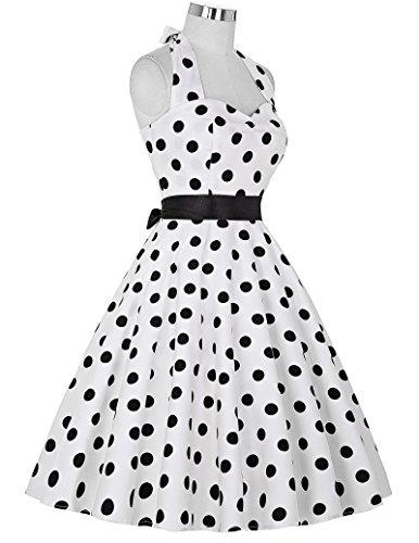 GRACE KARIN® Vintage Vestido de Lunares Sin Mangas Halter ES4599 3# Estilo 1