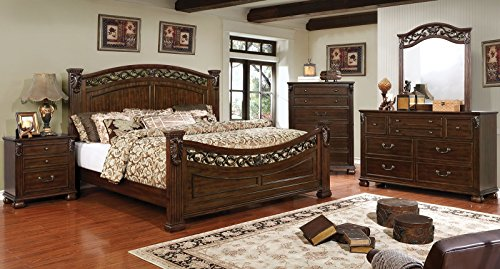 CERVANTES Collection Bedroom Furniture Poster Bed Brown Cherry Unique Modern Floral Accent Eastern King Size Bed Dresser Mirror Nightstand 4pc Set Solid Wood