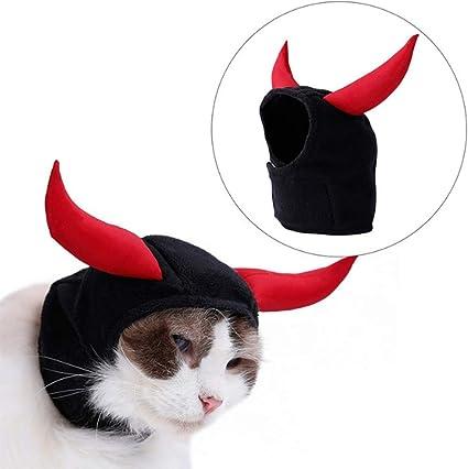 Cat Hat Cuernos Diablo Traje Trajes De Halloween Ajustable Tocado para Gato Y Perro Pequeño Rojo