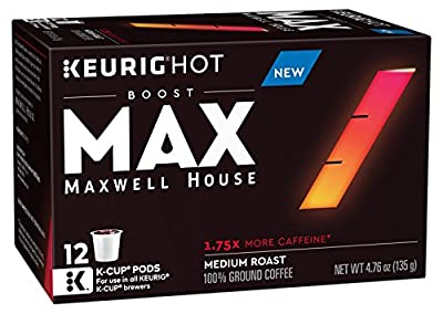 MAX by Maxwell House Boost K-CUP Coffee, 1.75x Caffeine, 72 Count (6 Packs of 12)