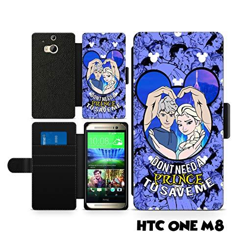 c riveras Disney Valentines Couple Inspired Phone case Elsa Jack Frost Frozen Fan Art Faux Leather flip Wallet Mobile Cover for HTC One M8 ()