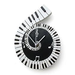 My Music Gifts Piano Scroll Wall Clock, Ceramic Black, 8 x 40 x 16 cm