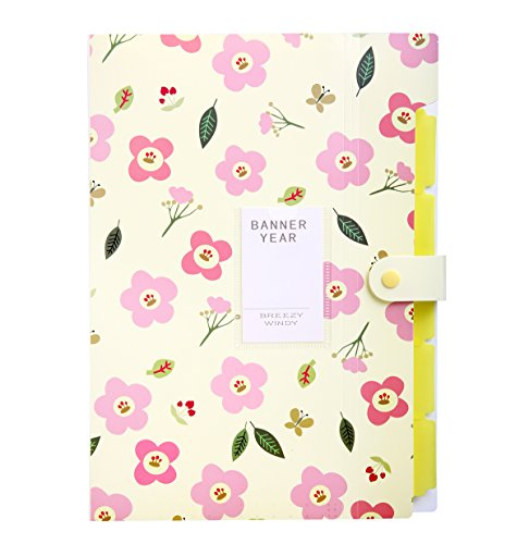 Skydue Floral Printed Accordion Document File Folder Expanding Letter Organizer (Yellow)