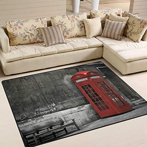ALAZA Vintage British Phone Booth in London Area Rug Rugs Living Room Bedroom 7' x 5'