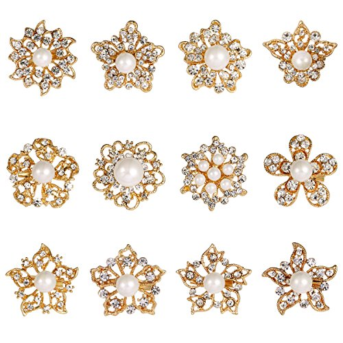WeimanJewelry Silver/Gold Plated 12pcs Crystal Rhinestones Flower Brooch Pins DIY Wedding Bouquets Kit (Gold with (Gold Hat Pin)