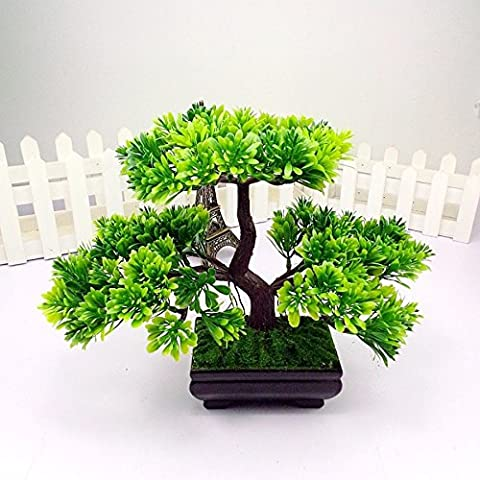 Artificial Japanese Zen Bonsai Tree Home Planet with Pot. Perfect for a Desk, Table, Office, Home Or Shelf - Pruning Ficus Tree