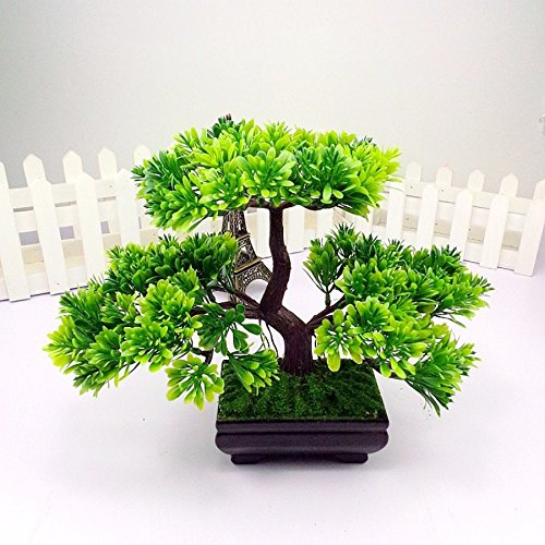 Artificial Japanese Zen Bonsai Tree Home Planet with Pot. Perfect for a Desk, Table, Office, Home Or Shelf Decoration (Where To Buy Artificial Tree)