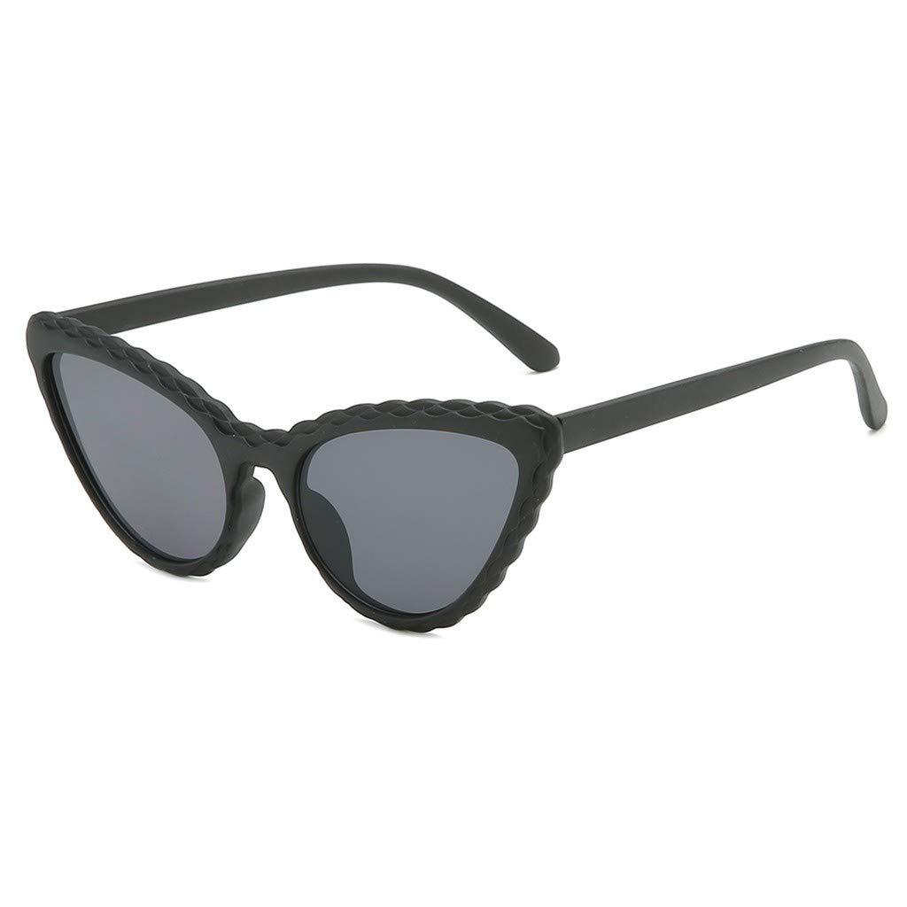Lollyeca Fashion Cat Eye Shade Sunglasses Integrated Stripe Vintage Glasses Womens Sunglasses