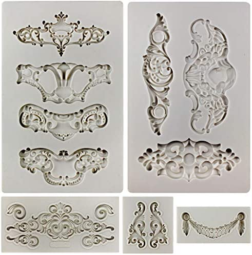 3 embellishment molds plaster fimo clay wax casting  1 swag mold 2 corner molds