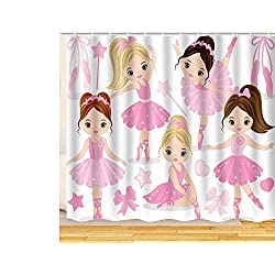 "ArtRena Fabric Shower Curtain, Ballerinas, Waterproof and Mildew Resistant, 71"" x 71"""