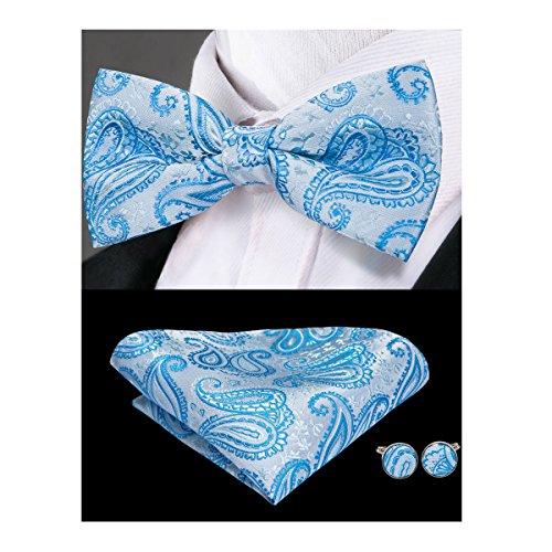 Hi-Tie Light Blue Paisley Bowtie Jacquard Woven Silk Mens Wedding Bow Tie Hanky Cufflinks Set