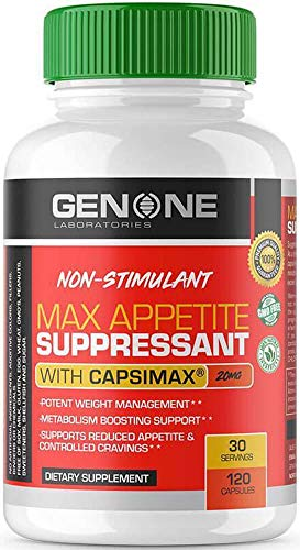 Gen One Laboratories- Max Appetite Suppressant- for Men and Women, Curbs Appetite, Amazing for Weight Loss, Incredible Fat Loss, Best Non-Stim Appetite Suppressant, Capismax for Weight Management