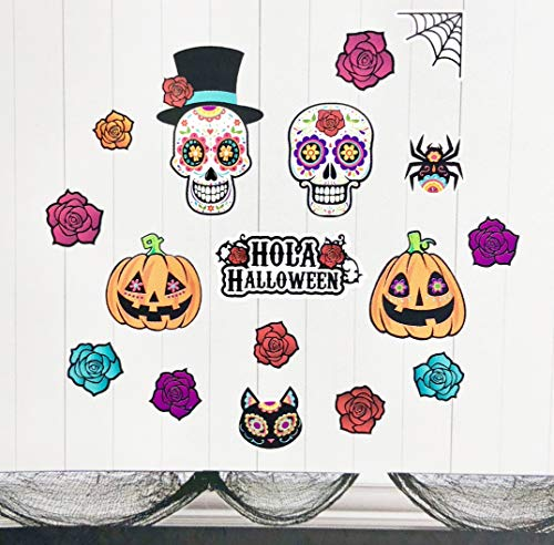 Momentum Brands Halloween Wall clings/Stickers. Day of The Dead Theme. Bright Colors and Fun Icons to Easily Decorate for Your Party. for $<!--$9.00-->