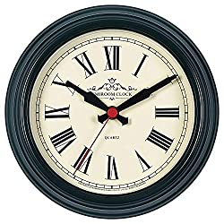 EMIROOM 8.6 Inch Retro Classic Metal Wall Clock, Silent Non Ticking Round Wall Clock Decorative, Battery Operated Quality Quartz for Living Room, Bedroom, Kitchen, School and Office (Dark Green Roman)