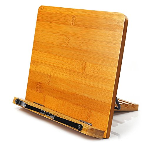 Bamboo Book Stand,HENGSHENG Adjustable Book Holder Tray and Page Paper Clips-Cookbook Reading...