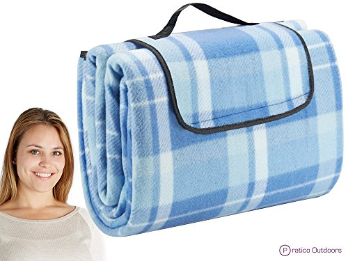 Extra Large Picnic  Outdoor Blanket with Water-Resistant Backing – Blue 60 x 80 inches