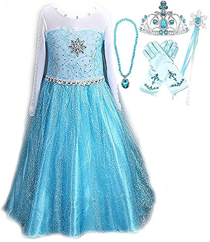 Snow Queen Elsa Princess Party Dress Costume with Accessories (6-7, Style (Princess Winter Costumes)
