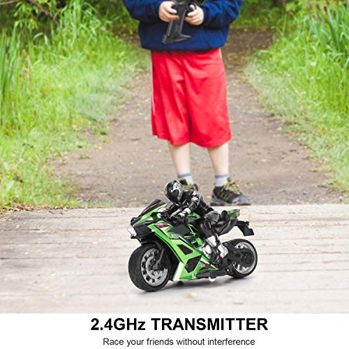 Liberty Imports 2.4G 1/10 High Speed Cross Country RC Remote Control Stunt Motorcycle with Riding Figure