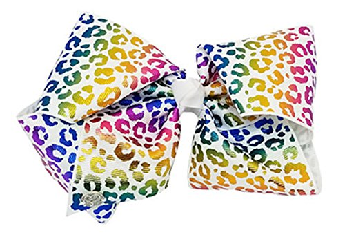 JoJo Siwa Large Cheer Hair Bow (Rainbow - Cheetah Inch 8