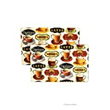 """Set 6 European 19"""" Coffee Cafe Colorful Cork Backed Board Placemats Table Mats"""