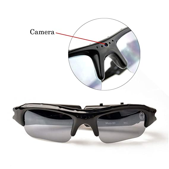 Amazon.com : Glasses Camera Outdoor Sports Mini Polarizer Sunglasses Camcorder secert Security Smart cam dv Voice Audio Recorder Microphone : Camera & Photo