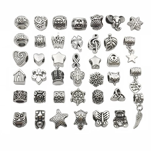 - 38 PCS European Bracelet Charms Collection - Antique Silver Assorted Flower Big Hole Spacer Tube Bead Charms with Free Copper Bracelet (HM40)