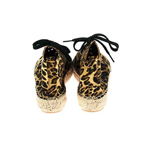 maypol Damen Sneaker Schwarz Braun Leopardmuster