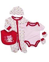 Parure de naissance 6 pièces - bébé fille - blanc rose et fuschia