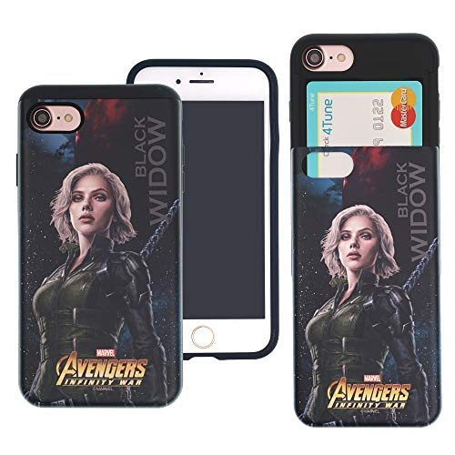 iPhone 8 Plus/iPhone 7 Plus Case Marvel Avengers Infinity War Slim Slider Cover : Card Slot Shock Absorption Dual Layer Holder Bumper for [ iPhone 8 Plus/iPhone 7 Plus ] Case - Black Widow