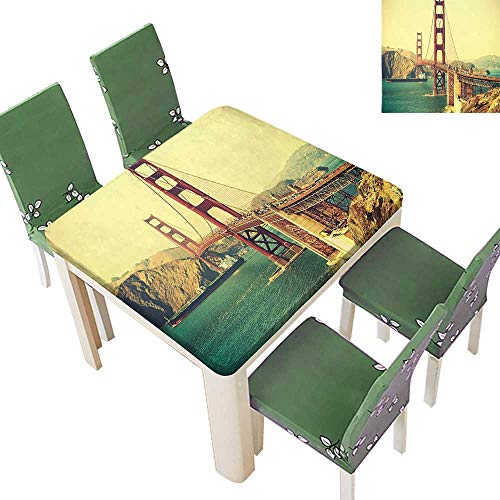 (Printsonne Fitted Polyester Tablecloth Old Film Retro Featured Golden Gate Bridge Suspension Urban Path Construction Scenery Blue Washable for Tablecloth 23 x 23 Inch (Elastic Edge))