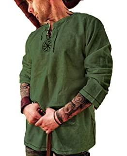 Fueri Camisa de Pirata para Hombre, diseño de Caballero Medieval, Camisa con Cordones, Camisa de Pescador, túnica vikinga, Hippie, Tiempo Libre, Disfraz de Halloween Negro M: Amazon.es: Ropa y accesorios