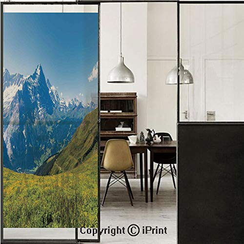 (Nature 3D Decorative Film Privacy Window Film No Glue,Frosted Film Decorative,Peaks of Swiss Alps in Sunny Summer Day Flowers Valley Nothern Rural Print Deco Decorative,for Home&Office,17.7x70.8Inch G)