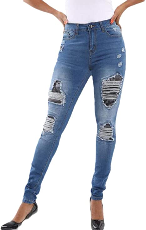 Tootess Women Washed Mid Waist Lounge Slim Distressed Denim Pants with Pockets