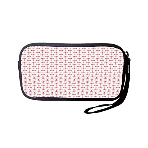 llet Bag,Coin Pouch,Fleur De Lis,Pink Colored Ancient Lily Flower Motifs with Checkered Pattern French Heraldry Decorative,Pink Cream,for Women and Kids ()
