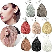 8 Pairs Leather Earrings Lightweight Leaf Dangle Earrings Teardrop Earrings Antique Handmade Earrings for...